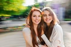 Two Sexy, Beautiful Young Happy Women Stock Photo