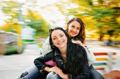 Two sexy, beautiful young happy women Royalty Free Stock Photography