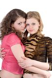 Two sexy beauty young women. Isolated Royalty Free Stock Photo