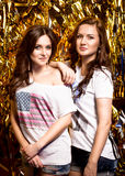 Two sexy brunette girls posing against golden background Stock Photos