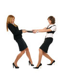 Two sexy businesswomen are fighting for the laptop Stock Photo
