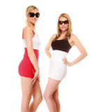 Two sexy crazy women in summer clothes sunglasses. Stock Photography