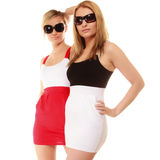Two sexy crazy women in summer clothes sunglasses. Stock Photos