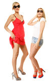 Two sexy crazy women in summer clothes sunglasses. Royalty Free Stock Image