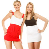 Two sexy fashion women in summer clothes Stock Images