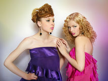 Two sexy fashionable  girls Royalty Free Stock Photography