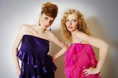 Two fashionable  girls Stock Photos