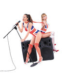 Two sexy girl singing in the studio Stock Images