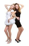 Two girls in black and white Royalty Free Stock Photo