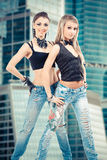 Two sexy girls in jeans Stock Image