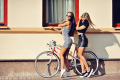 Two sexy girls posing outdoor Royalty Free Stock Image
