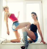 Two girls sports Stock Photography