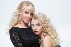 Two sexy girls with white hair Stock Photo