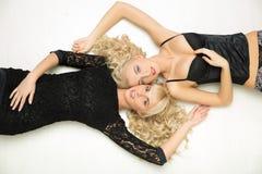 Two sexy girls with white hair Stock Photos