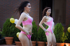 Two sexy go go dancers. In pink suits Stock Images