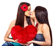 Two sexy lesbian women kissing Royalty Free Stock Images