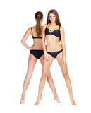 Two sexy models. Beautiful brunette women in underwear Royalty Free Stock Images