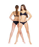 Two sexy models. Beautiful brunette women in underwear Stock Photo