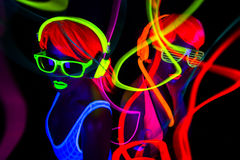 Two sexy neon uv glow dancers. Two sexy female disco dancers posing in UV costume Stock Image