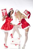 Two sexy Santa girls having fun Stock Image