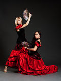 Two sexy spanish dancers. Posing over dark background Stock Photos