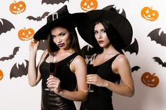 Two sexy witches in black clothes posing against the wall with bats with glasses of wine in their hands Stock Photos