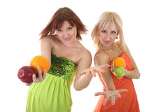 Two sexy women with fruits Stock Image