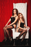 Two sexy women in lingerie on white throne. Two young sexy women in lingerie on white throne Stock Image