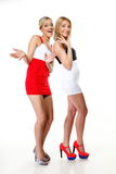 Two sexy women wearing mini skirts Stock Photo
