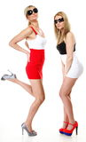 Two sexy women wearing mini skirts Royalty Free Stock Photography