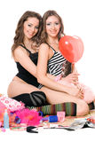 Two sexy young girlfriends. Isolated Royalty Free Stock Photo