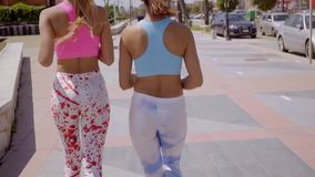 Two sexy young woman in trendy outfits. Walking along an urban promenade viewed close up fro behind stock video footage