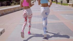 Two sexy young woman in trendy outfits. Walking along an urban promenade viewed close up fro behind stock footage