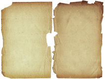 Two shabby blank pages with fragmentary edges. Royalty Free Stock Image