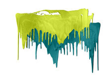 Two shades of green paints dripping Royalty Free Stock Photography