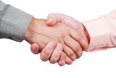 Two shaking hands. Two mail hads in shirts shaking each other Stock Photos