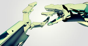 Two shaking robotic hands teamwork succes Royalty Free Stock Photo