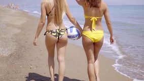 Two shapely young woman wearing bikinis stock video