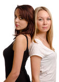 Two shapely young women friends Stock Images