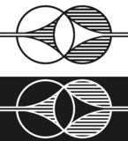 Two shapes merging with each other. Two shapes or figures merging with each other, black and white, vector illustration Royalty Free Stock Photos
