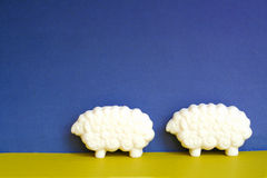 Two sheep. Shaped soap bars Royalty Free Stock Photos