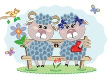 Two sheep at the bench Royalty Free Stock Images