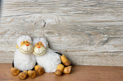 Two sheep lying casually on Easter Royalty Free Stock Image