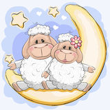 Two sheep on the moon. Two Cute sheep is sitting on the moon Royalty Free Stock Photo
