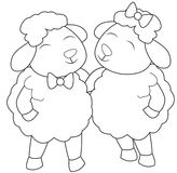 Two sheep with ribbons coloring page Stock Image