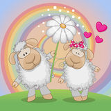 Two Sheep. Valentine card with two Sheep on a meadow Stock Images