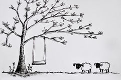 Two sheeps and tree Royalty Free Stock Image
