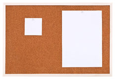 Two Sheets Of Paper On Bulletin Cork Board Stock Image