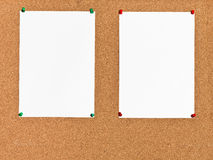 Two Sheets Of Paper On Cork Board Stock Photos