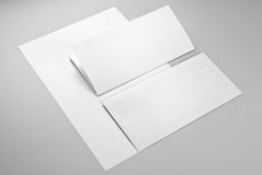 Two sheets of paper and envelope Stock Photo